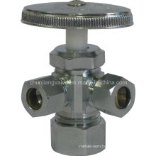 Compression Connection Brass Dual Outlet Angle Valve (J31)