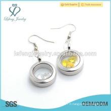 Bijoux design unique Boucles d'oreilles en or rose Pendentif flottant à la pierre de pierre Pendentif en or avec charme pour cadeaux gils