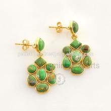 Jóias de prata esterlina natural de cobre verde turquesa disponíveis no preço de atacado