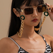 European and American Green Flannel Ring Golden Hip-Hop Fashion Punk Cuban Thick Chain Hanging Neck Rope Reading Glasses Sunglasses Chain Glasses Chain Women
