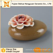 Aroma Stone Jar botella de cerámica de perfume con flor tapa