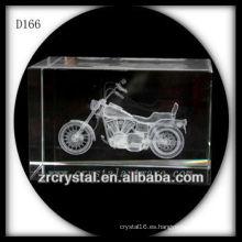Motocicleta grabada con láser 3D K9 dentro del rectángulo cristalino