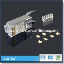 Cat7 banhado a ouro UTP keystone jack / cat6 rj45 conector plug modular / hot vender novo design cat5e rj45 plug