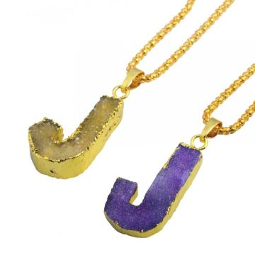 Colorful Crystal Alphabet Letter J Pendant Necklace