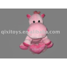 en peluche et en peluche valentien hippopotame avec coeur, jouet d'animal doux