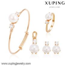 64239 Xuping atacado encantos banhado a ouro conjunto de jóias de pérolas para o bebê