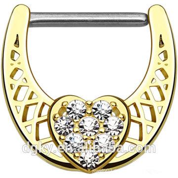 Gepflasterte klare CZ Herz Mitte 316L Edelstahl Schaft Gold IP über Messing Körper Nippel Clicker Ring