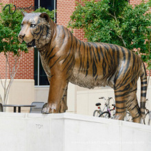 Haute qualité jardin décoration taille de la vie bronze statue du tigre du Bengale