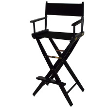 "30"" Black Frame Directors Makeup Chair with Black Canvas"