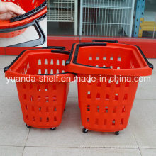 Handle Pushing 4 Wheel Plastic Supermarket Customer Shopping Basket