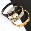 pulseira de aço inoxidável moda faixa preta projeto energia jóias