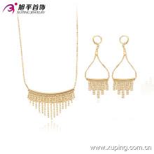 63609 Xuping bijoux en plaqué or définit la mode en gros 18k élégante boucle d'oreille et collier bijoux en plaqué