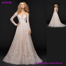 Made in China Pink Noble Wedding Dresses China Supplier Long Sleeve Lace Wedding Dresses