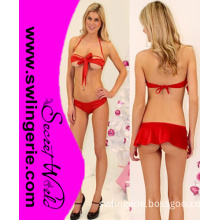 Sexy Red Bow Tie Open Cups Bra Set Costume T1112