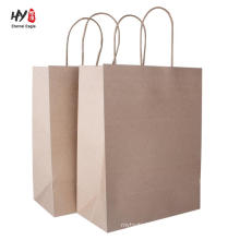 Solid brown kraft custom printed paper bag