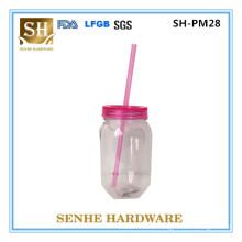 530ml Double Wall Plastic Jar Mason Jar