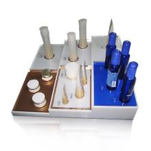 Base de exibição de bancada acrílica brilhante para testar cosméticos, caixa de exibição organizadora
