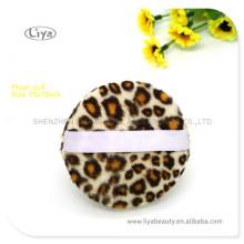 Moda estilo leopardo impressão pó Puffs para senhora