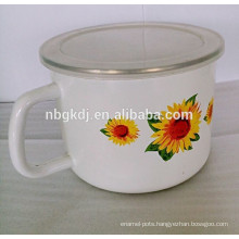 sunflower decals bulb handle enamel milk pot with PE lid