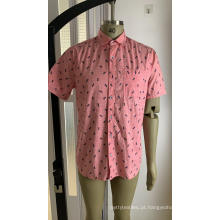 Camisa masculina de manga curta estampada 100% algodão