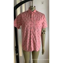 Мужская рубашка с коротким рукавом из 100% хлопка с принтом