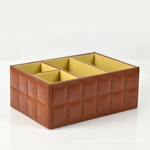 Brown Faux Leather Desktop Organizer