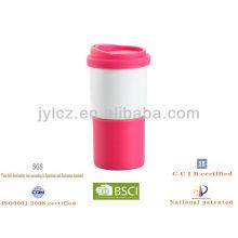 taza de café de viaje de cerámica con tapa de silicona