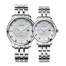 Calendário japão movt 5atm, 10atm resistente à água todos os relógios de aço inoxidável sólido para casal