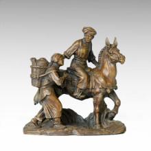 Estatua oriental del mercado de vida del pueblo Escultura de bronce Tple-030
