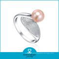 2015 encantadora prata água doce pérola casal anel (r-0261)