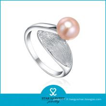 2015 charmante bague de couple de perles d'eau douce argent (R-0261)