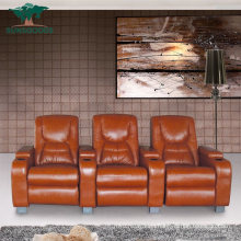Custom Multifunction Cup Holder Cinema Seat Sofa Brown Leather Electric Recliner Home Furniture