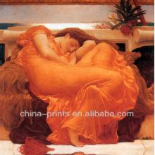 Pintura al óleo atractiva decorativa de la señora en lona