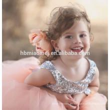 Vestido de fiesta de lentejuelas sin mangas vestido de niña de la flor desgaste de baile patrón de vestido de niña de tul de encaje