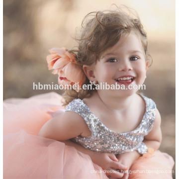 Sequins sleeveless party wear flower girl dress dance wear lace tulle flower girl dress pattern