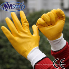 NMSAFETY 13 калибровочных желтые нитрила покрытием безопасности рабочие перчатки