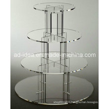 Four Tiers Round Acrylic Display Stand / Exhibition for Wedding Cake