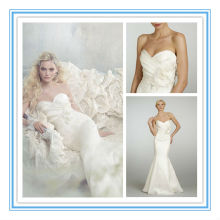 Fashion Strapless Sheath Satin Appliqued Cover Button Wedding Gown Online(WDJL-1003)