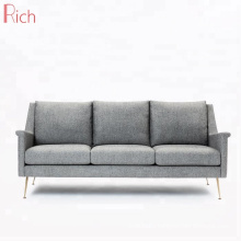 Furniture Factory Direct Gray Fabric Settee Living Room Used Metal Legs 3 Seater Sofa
