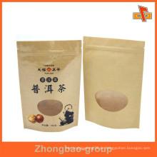 Anpassen Feuchtigkeitsnachweis wiederverschließbare Kraftpapier Stand up Reißverschluss Tasche mit Fenster und Druck für Kaffee, Snack, getrocknete Früchte