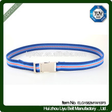 Fashion Elastic Skinny Waist Belt Interlock Buckle High quality Sported Stripe Tiny Webbing Design