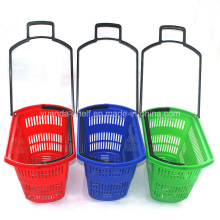Plastic Basket Grocery Shopping Backets Wheel Rolling (YDB01-09)