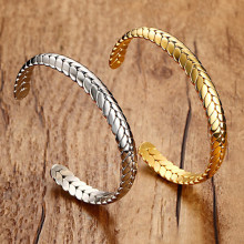 Tree Leaves Open Cuff Silver Gold Bangles Bracelet