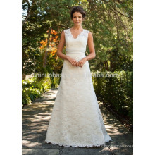 NA1030 Decent A-line V-neck Court Train Champagne Belt Appliqued Lace Bridal Wedding Dress