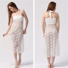 Vestido largo de playa para mujeres con pliegues largos (50039-1)
