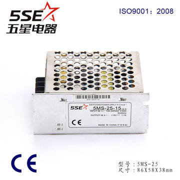 5ms-25-15 Ce RoHS Single Output Mini-Size 25W 1.4A 15V Switching Power Supply