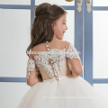 2017 New Fashion High Quality Lace Appliques Flower Girl Dress With Sleeves Custom Made With Sash Girls baby wedding dress