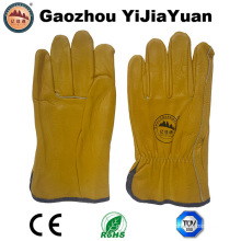 Gold Cowhide Grain Leather Work Drivers Gloves