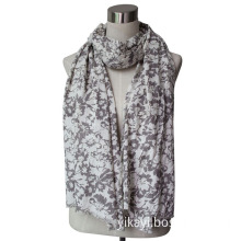 Ladies Fashion Cotton/Viscose Scarf with Flowers Printed