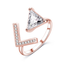 Simple Women Rose Gold Triangle Diamond Open Ring (CRI1023)